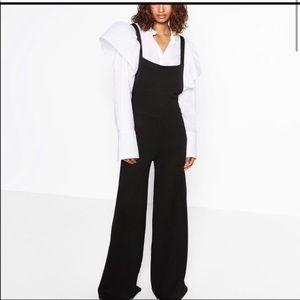 Zara Knit Palazzo Wide Leg Jumpsuit in black